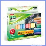 Gessi Colorati tondi senza polvere Scatola 24 pezzi Lebez 537