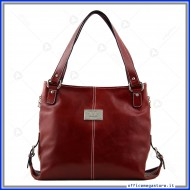 Borsa Charlotte in vera pelle rossa da donna made in italy conciata al vegetale a mano - Tuscany Leather