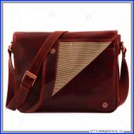 Borsa Messenger Freestyle in vera pelle rossa da donna made in italy conciata al vegetale a mano - Tuscany Leather