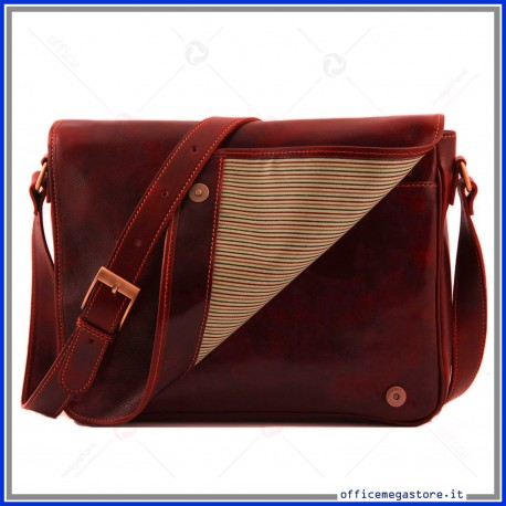 Borsa Messenger Freestyle in vera pelle rossa da donna made in italy conciata al vegetale a mano - Tuscany Leather