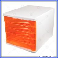 Cassettiera Arancione con 5 cassetti Alti in plastica Wiler DC005A