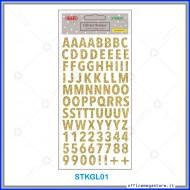 Etichette adesive stickers glitter forma Alfabeto colore oro 1 foglio 105x200 mm Wiler STKGL01