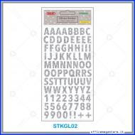 Etichette adesive stickers glitter forma Alfabeto colore argento 1 foglio 105x200 mm Wiler STKGL02