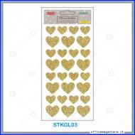 Etichette adesive stickers glitter forma Cuore colore oro 1 foglio 105x200 mm Wiler STKGL03