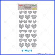 Etichette adesive stickers glitter forma Cuore colore argento 1 foglio 105x200 mm Wiler STKGL04