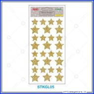 Etichette adesive stickers glitter forma Stella colore oro 1 foglio 105x200 mm Wiler STKGL05