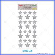 Etichette adesive stickers glitter forma Stella colore argento 1 foglio 105x200 mm Wiler STKGL06