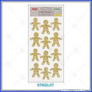Etichette adesive stickers glitter forma GINGERBREAD colore oro 1 foglio 105x200 mm Wiler STKGL07