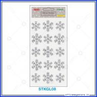 Etichette adesive stickers glitter forma Fiocco di Neve colore argento 1 foglio 105x200 mm Wiler STKGL08