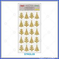 Etichette adesive stickers glitter forma Albero di natale colore oro 1 foglio 105x200 mm Wiler STKGL09