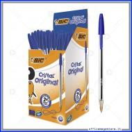 Penne a sfera Bic Cristal Original Punta Media 1 mm colore blu in confezione da 50 biro 837360