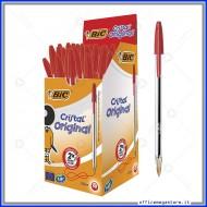Penne a sfera Bic Cristal Original Punta Media 1 mm colore rosso in confezione da 50 biro 8373611