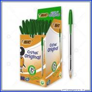 Penne a sfera Bic Cristal Original Punta Media 1 mm colore verde in confezione da 50 biro 8373621