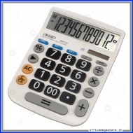 Calcolatrice da Tavolo Big Digit 12 cifre con tasti grand a doppia alimentazione dal colore bianco Wiler W5112
