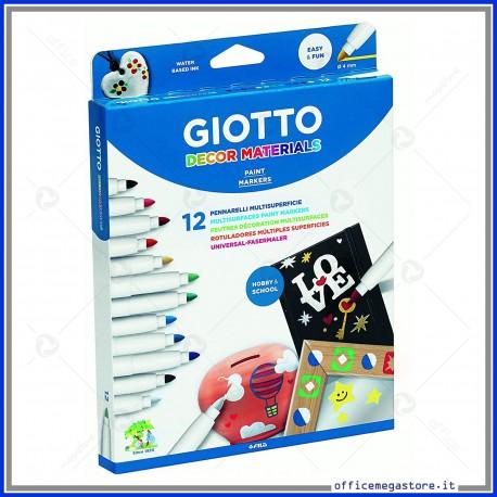 Pennarelli Giotto Decor Materials per vetro legno ceramica cuoio vasellame plastica metallo confezione 12 colori fila 453400