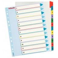 Rubrica Numerica Riscrivibile in Cartoncino A4 con Tasti Colorati da1 a 12 - 100209