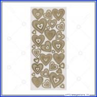 Etichette Adesive 3D in PVC con stampa metallizzata motivo Cuori oro Wiler STK806012