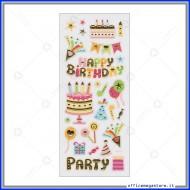 Etichette Adesive in rilievo con stampa metallizzata motivo Happy Birthday Wiler STK191015