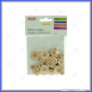 Accessori Creativity in Legno Bottoni naturali da 12, 18, 22 mm busta 24 pezzi Wiler WDB24