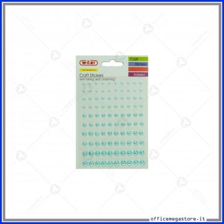 Stickers perle adesive misure miste 3mm 4mm 5mm 6mm 7mm colore azzurro Wiler STKP402B