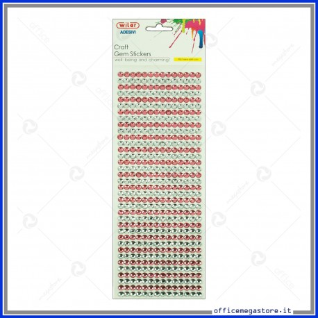 Strass adesivi craft stickers blister 1 foglio da 100x260 mm lineari e gemme Wiler STKCY003