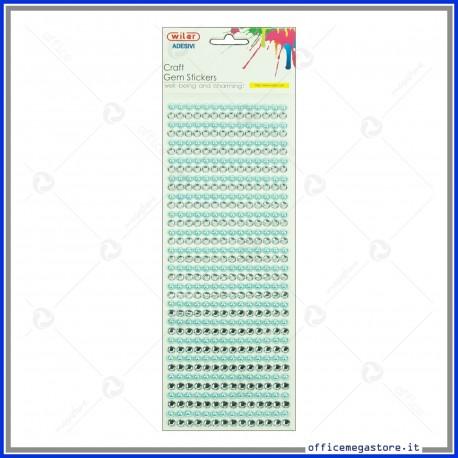 Strass adesivi craft stickers blister 1 foglio da 100x260 mm lineari e gemme Wiler STKCY004