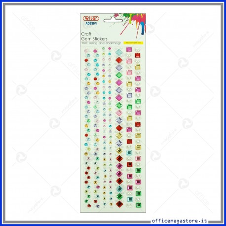 Strass adesivi craft stickers blister 1 foglio da 100x260 mm lineari e gemme Wiler STKCY005