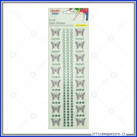 Strass adesivi craft stickers blister 1 foglio da 100x260 mm Farfalle Wiler STKCY008