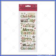 Etichette Adesive in rilievo con stampa metallizzata motivo Merry Christmas Wiler STK191005