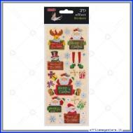 Etichette Adesive 3D in PVC con stampa metallizzata motivo Merry Christmas Wiler STK805054