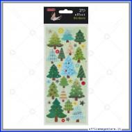 Etichette Adesive 3D in PVC con stampa metallizzata motivo Alberi di Natale Wiler STK805104