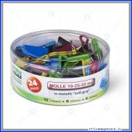 Molle colorate soft grip in metallo barattolo da 24 pezzi misure assortite Lebez 572