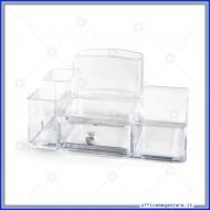 Desk Organizer in Acrilico trasparente a 5 scomparti e cassetto in formato 22x13x12cm Lebez 80761