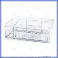 Desk Organizer in Acrilico trasparente a 6 scomparti e cassetto in formato 24x15,5x8cm Lebez 80760
