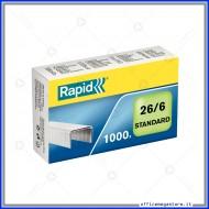 Punti metallici 26/6 Standard universali per cucitrici in confezione da 1000 Rapid 24861300