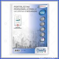 Portalistino da 100 Buste Personalizzabile Trasparente liscie Formato A4 in PP con copertina alto spessore Favorit 400090488