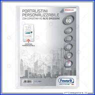 Portalistino da 60 Buste Personalizzabile Trasparente liscie Formato A4 in PP con copertina alto spessore Favorit 400090486