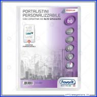 Portalistino da 80 Buste Personalizzabile Trasparente liscie Formato A4 in PP con copertina alto spessore Favorit 400090487