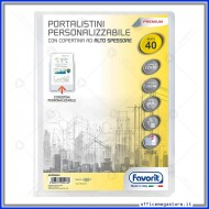 Portalistino da 40 Buste Personalizzabile Trasparente liscie Formato A4 in PP con copertina alto spessore Favorit 400090485