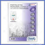 Portalistino da 20 Buste Personalizzabile Trasparente liscie Formato A4 in PP con copertina alto spessore Favorit 400090484