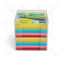 Cubo carta colorata con contenitore per appunti dorso incollato Lebez J-9910-0