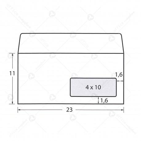 Busta commerciale con finestra Scatola 500 buste americane envelope 11x23 autoadesive bianche gr.90 Blasetti 157