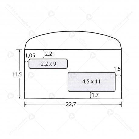 Busta commerciale con doppia finestra Scatola 500 buste americane envelope 115x227 lembo gommato bianche gr.90 Blasetti 100