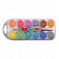 Acquerelli bambini 12 Pastiglie da 30mm colori perlati con pennello per lavoretti Toy Color 767