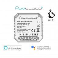 Modulo Interruttore Intelligente Wi-Fi da incasso a 2 canali compatibile con Google Home e Amazon Alexa Homcloud AS-SM2
