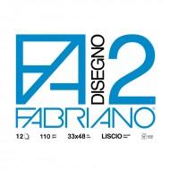 Blocco collato Disegno 2 Liscio 33x48 12 Fogli - Fabriano 06200534