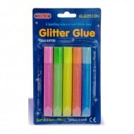 Blister colla Glitter Glue 5 tubetti colore fluo Neon da 10ml Wiler GLG0510N