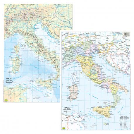 Cartina Fisico Politica Veneto.Belletti Italiao Carta Geografica Planisfero Fisico Politico