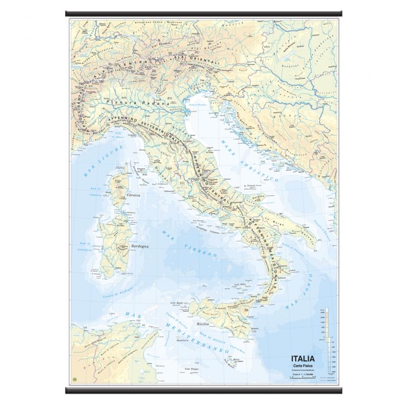 Cartina Dellitalia Ingrandita.Belletti Italiao Carta Geografica Planisfero Fisico Politico