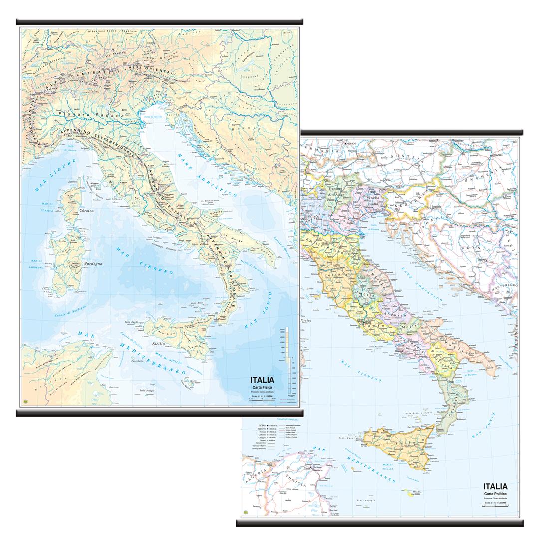 Cartina Fisica Italia Leggibile.Belletti Italiao Carta Geografica Planisfero Fisico Politico